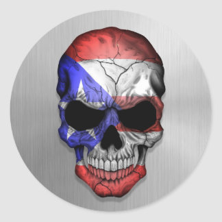 Flag of Puerto Rico on a Steel Skull Graphic Classic Round Sticker