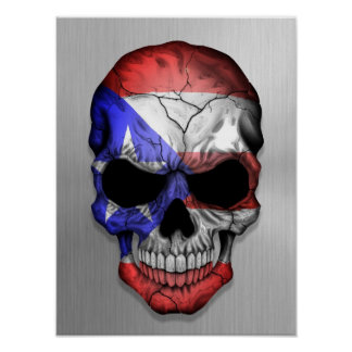 Flag of Puerto Rico on a Steel Skull Graphic Print