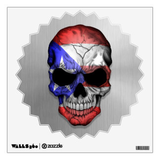 Flag of Puerto Rico on a Steel Skull Graphic Wall Sticker