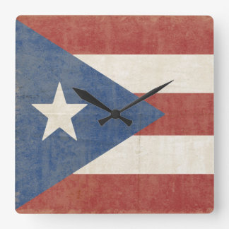 Flag of Puerto Rico Square Wall Clock