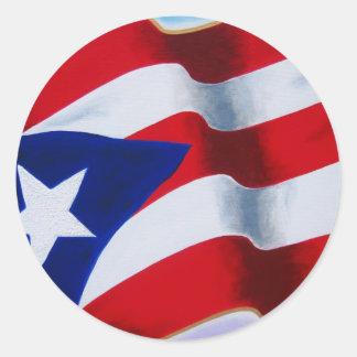 Flag of Puerto Rico Round Stickers