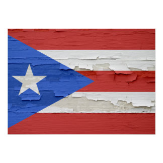 Flag of Puerto Rico Weathered Poster