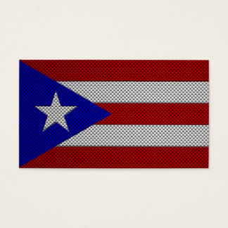 Flag of Puerto Rico with Carbon Fiber Effect Business Card