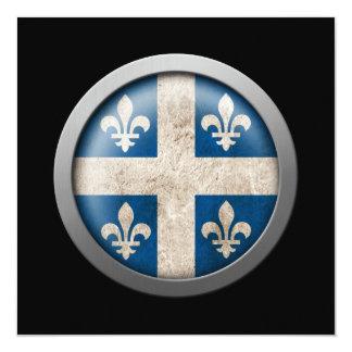 Flag of Quebec Disc 5.25x5.25 Square Paper Invitation Card