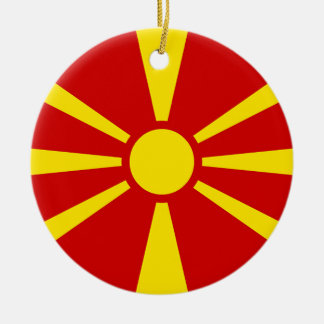 Flag of Republic of Macedonia Ceramic Ornament