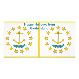 Flag of Rhode Island, Happy Holidays from U.S.A. Card
