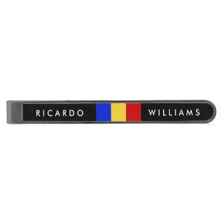 Flag of Romania Gunmetal Finish Tie Clip
