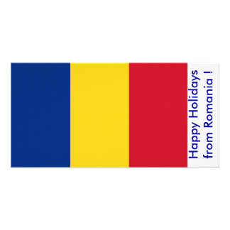 Flag of Romania Happy Holidays from Romania Photo Card Template