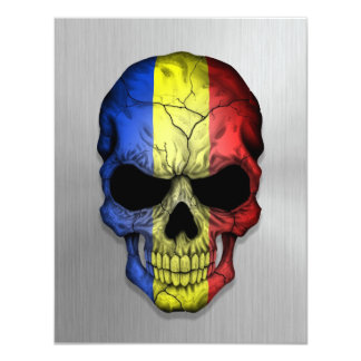 Flag of Romania on a Steel Skull Graphic 4.25x5.5 Paper Invitation Card