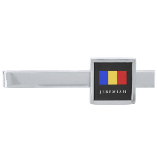 Flag of Romania Silver Finish Tie Clip