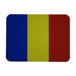 Flag of Romania with Carbon Fiber Effect Vinyl Magnet