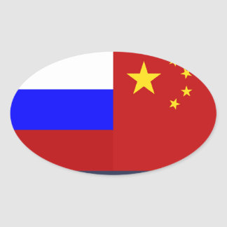 Flag of Russia - Flag of China Oval Sticker