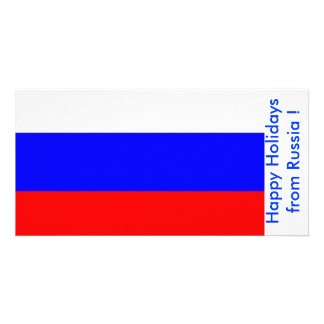 Flag of Russia Happy Holidays from Russia Custom Photo Card