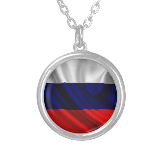 Flag of Russia, Russian Flag Silver Plated Necklace