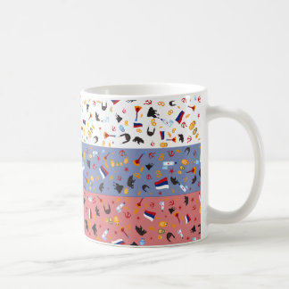Flag of Russia with stereotypes of the country Classic White Coffee Mug