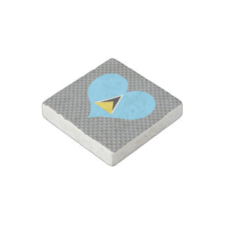 Flag of Saint Lucian on metal background Stone Magnet