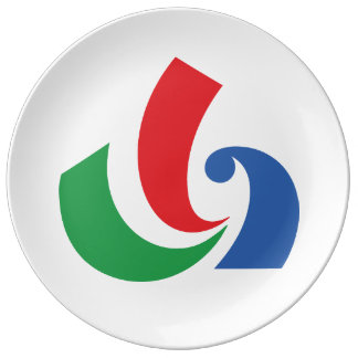 Flag of Sanmu, Chiba Japan Porcelain Plate