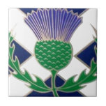 """Flag of Scotland and Thistle Ceramic Tile<br><div class=""""desc"""">Flag of Scotland and Thistle</div>"""