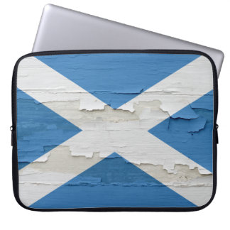 Flag of Scotland Weathered Paint Laptop Sleeve