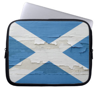 Flag of Scotland Weathered Paint Laptop Sleeves