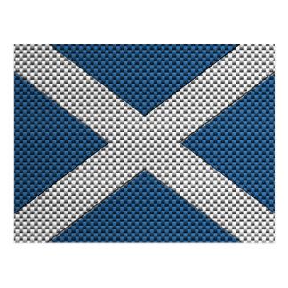 Flag of Scotland with Carbon Fiber Effect Postcard