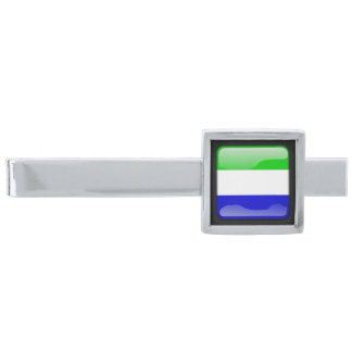 Flag of Sierra Leone Silver Finish Tie Bar