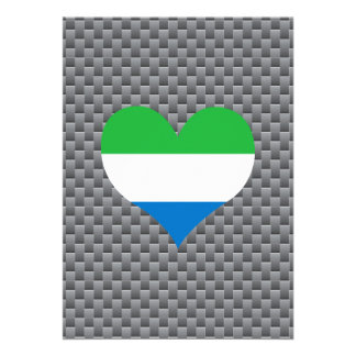 "Flag of Sierra Leonean on metal background 5"" X 7"" Invitation Card"