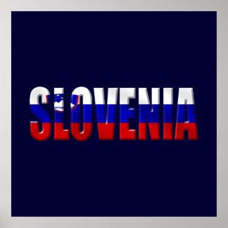 Flag of Slovenia Logo worded Slovenian flag Posters