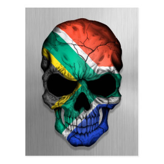 Flag of South Africa on a Steel Skull Graphic Postcard