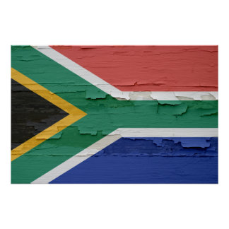 Flag of South Africa Weathered Paint Poster