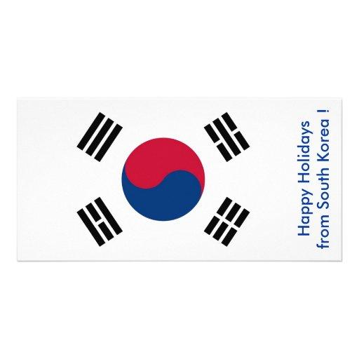 Flag of South Korea, Happy Holidays from Korea Photo Card