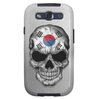 Flag of South Korea on a Steel Skull Graphic Galaxy S3 Cover