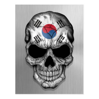 Flag of South Korea on a Steel Skull Graphic Postcard