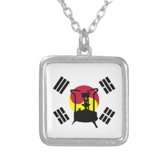 Flag of South Korea | Pressure stove Silver Plated Necklace