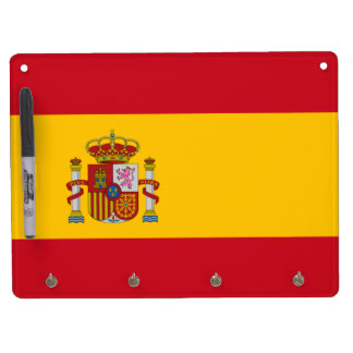 Flag of Spain Dry Erase Board With Keychain Holder