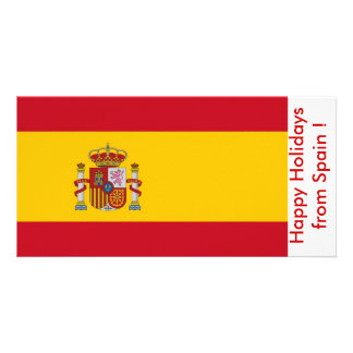 Flag of Spain, Happy Holidays from Spain Photo Card