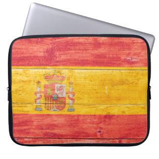 Flag of Spain on Wood Laptop Computer Sleeves