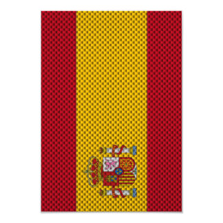Flag of Spain with Carbon Fiber Effect Custom Invites