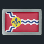 """Flag of St. Louis, Missouri Rectangular Belt Buckle<br><div class=""""desc"""">Belt Buckle with flag of city of St. Louis; red flag with white and blue waves and blue fleur-de-lys in yellow circle</div>"""