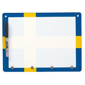 Flag of Sweden Dry Erase Board w/Key Holder