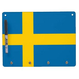 Flag of Sweden Dry Erase Board With Keychain Holder