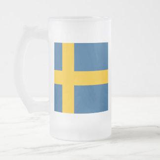 Flag of Sweden Frosted Glass Beer Mug
