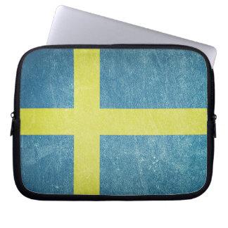 Flag of Sweden Grunge Laptop Sleeve