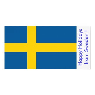 Flag of Sweden Happy Holidays from Sweden Personalized Photo Card