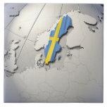 Flag of Sweden Large Square Tile