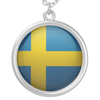 Flag of Sweden Round Pendant Necklace