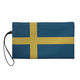 Flag of Sweden with Carbon Fiber Effect Wristlet Purse