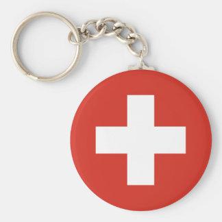 Flag of Switzerland Basic Round Button Keychain