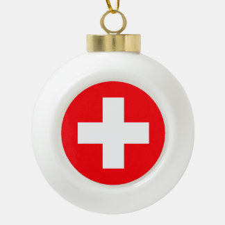 Flag of Switzerland Ceramic Ball Christmas Ornament