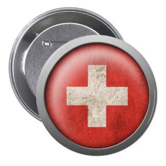Flag of Switzerland Disc 3 Inch Round Button